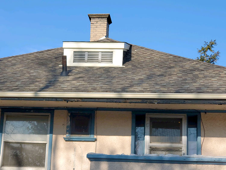 Shingle Roof with Chimney -