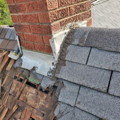 Chimney mid-repair